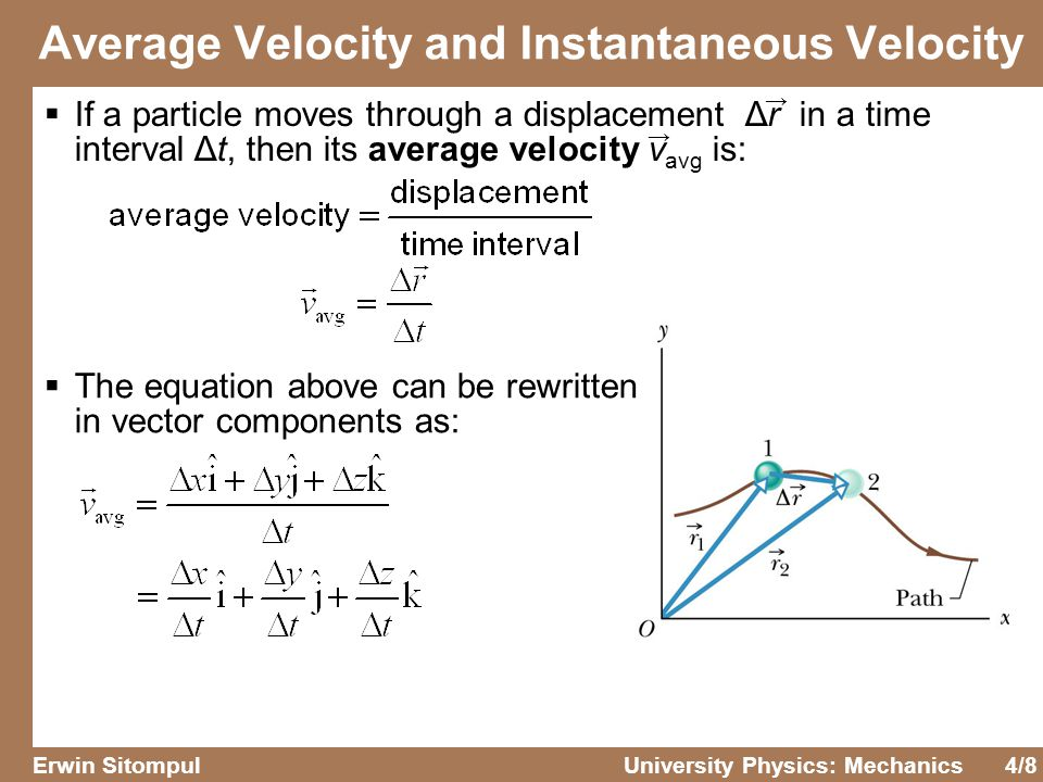 4/8 Erwin SitompulUniversity Physics: Mechanics Average Velocity and Instantaneous Velocity  If a particle moves through a displacement Δr in a time interval Δt, then its average velocity v avg is:  The equation above can be rewritten in vector components as: → →