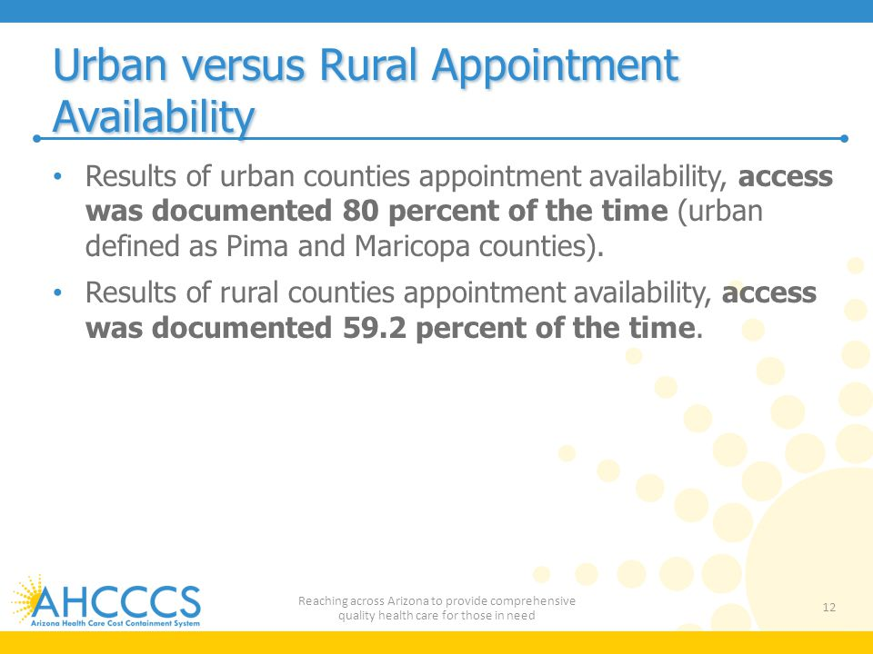 Urban versus Rural Appointment Availability Results of urban counties appointment availability, access was documented 80 percent of the time (urban defined as Pima and Maricopa counties).