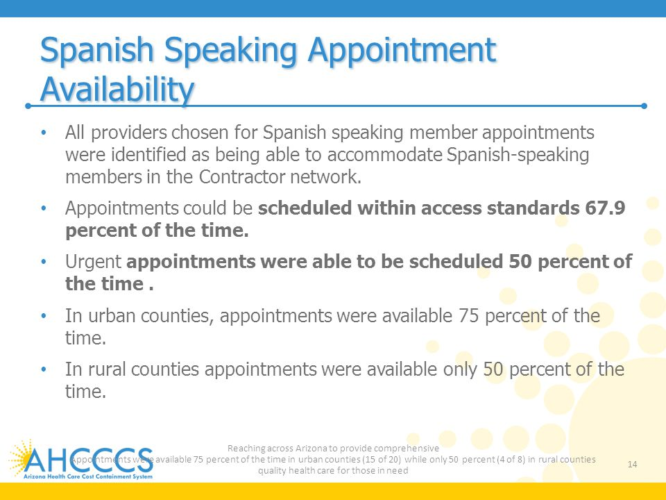 Spanish Speaking Appointment Availability All providers chosen for Spanish speaking member appointments were identified as being able to accommodate S