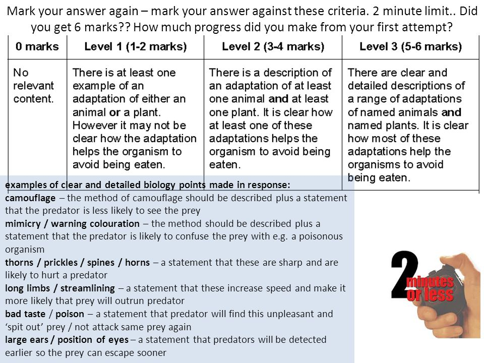 Mark your answer again – mark your answer against these criteria. 2 minute limit.. Did you get 6 marks?? How much progress did you make from your firs