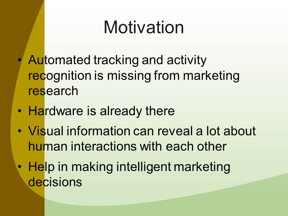 Tracking Customer Groups We treat customers as swarming agents, acting according to simple rules (e.g.