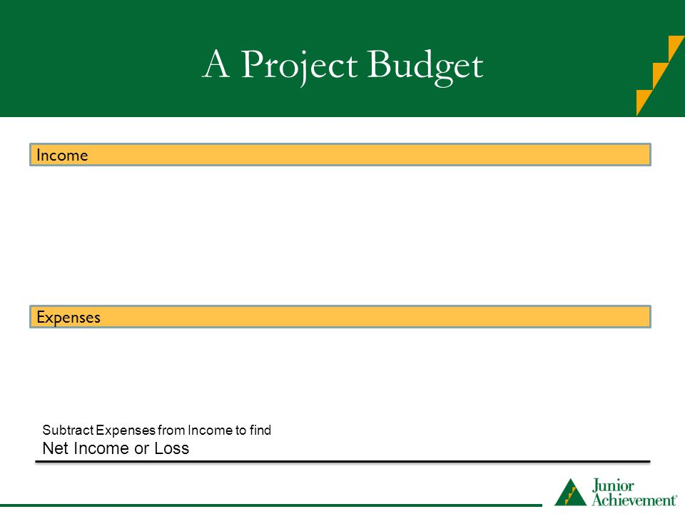 A Project Budget Income Expenses Net Income or Loss Subtract Expenses from Income to find
