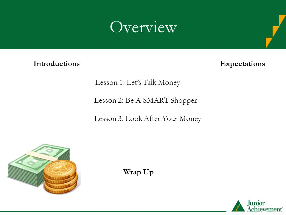 Overview IntroductionsExpectations Lesson 1: Let's Talk Money Lesson 2: Be A SMART Shopper Lesson 3: Look After Your Money Wrap Up