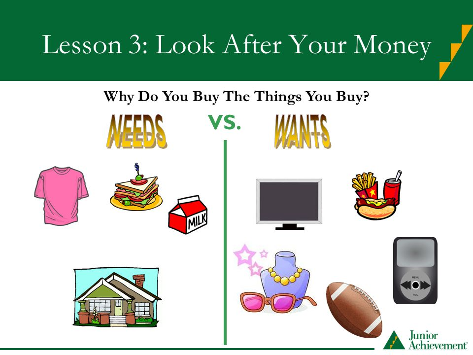 Lesson 3: Look After Your Money VS. Why Do You Buy The Things You Buy?