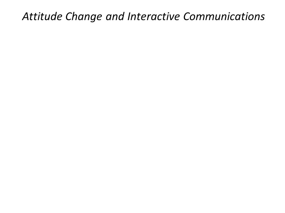 Attitude Change and Interactive Communications