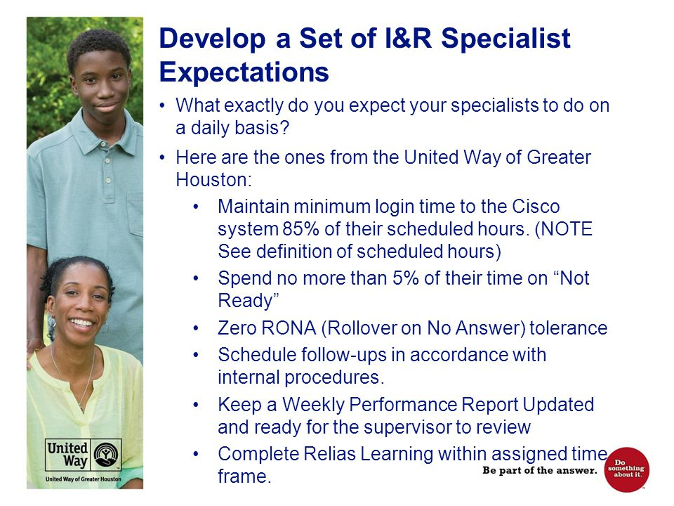 Expectation Definitions Scheduled Hours – the # of hours/day and/or week when a specialist is expected to be logged into the phone system and answering calls.