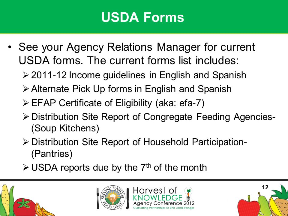 12 See your Agency Relations Manager for current USDA forms.