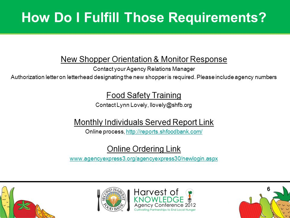 77 Contact Agency Relations Manager for: –Regular monthly delivery for orders over 20 cases –Grocery Rescue: picking up donations at local grocery stores –Donations of equipment and supplies Produce Markets (Hubs).