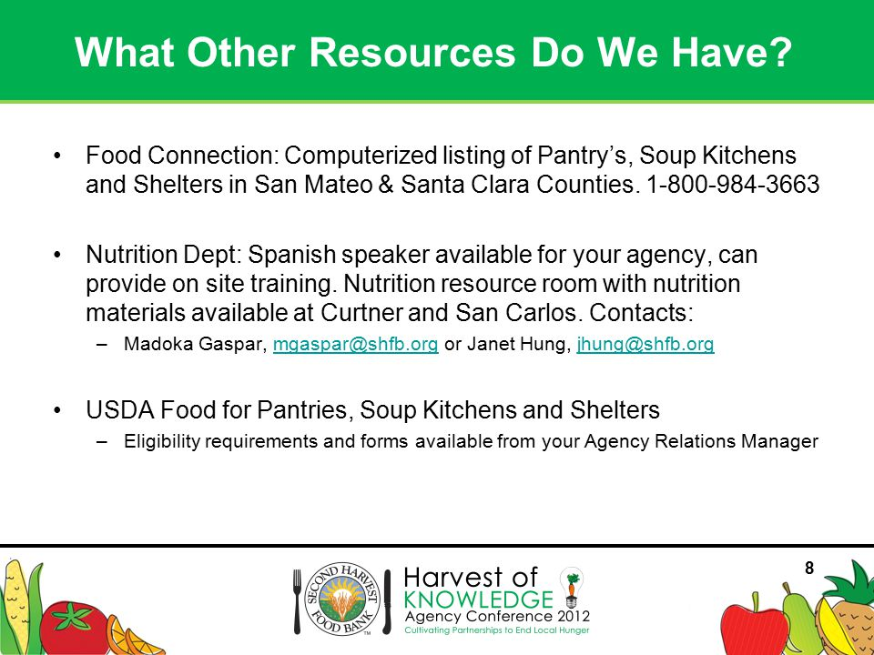 88 Food Connection: Computerized listing of Pantry's, Soup Kitchens and Shelters in San Mateo & Santa Clara Counties.