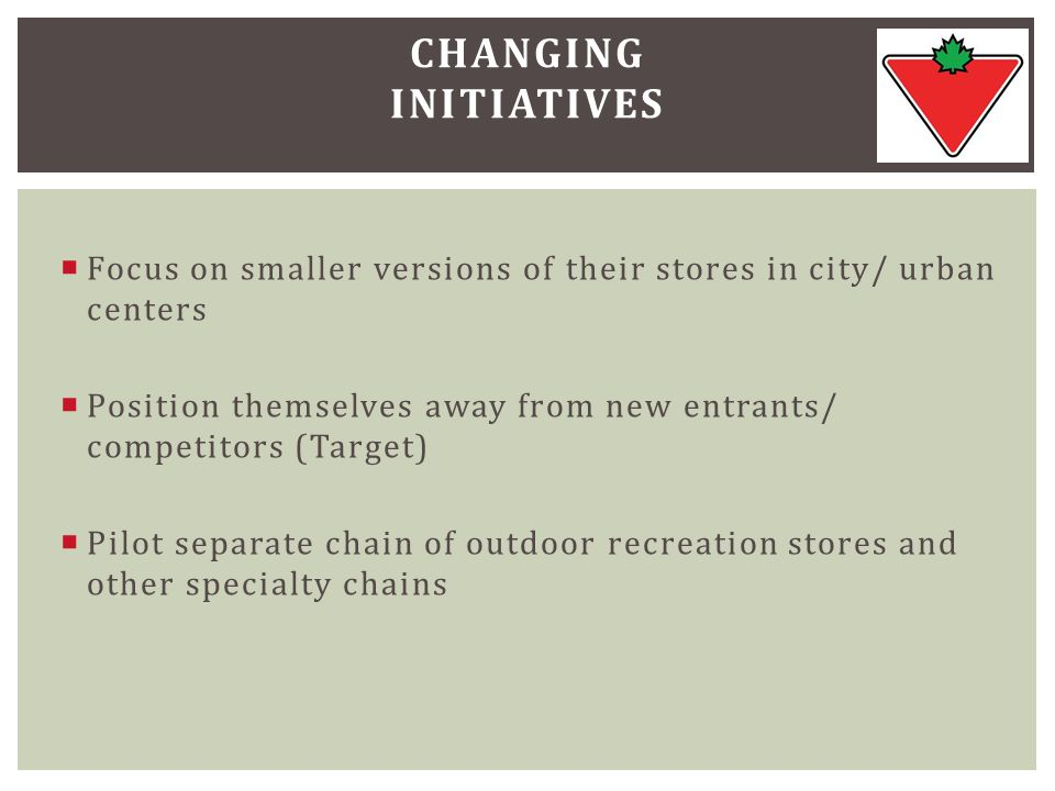  Focus on smaller versions of their stores in city/ urban centers  Position themselves away from new entrants/ competitors (Target)  Pilot separate chain of outdoor recreation stores and other specialty chains CHANGING INITIATIVES