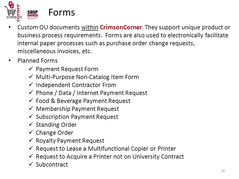Forms Custom OU documents within CrimsonCorner.