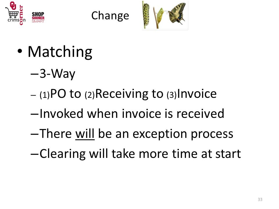 Change 33 Matching – 3-Way – (1) PO to (2) Receiving to (3) Invoice – Invoked when invoice is received – There will be an exception process – Clearing will take more time at start