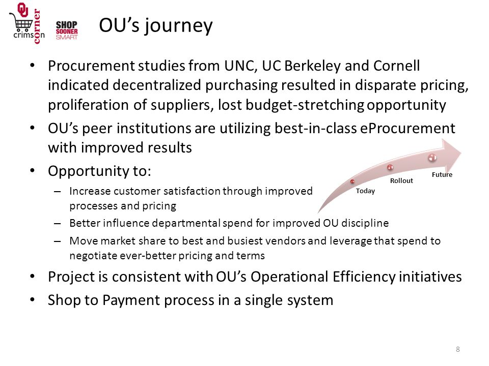 Procurement studies from UNC, UC Berkeley and Cornell indicated decentralized purchasing resulted in disparate pricing, proliferation of suppliers, lost budget-stretching opportunity OU's peer institutions are utilizing best-in-class eProcurement with improved results Opportunity to: – Increase customer satisfaction through improved processes and pricing – Better influence departmental spend for improved OU discipline – Move market share to best and busiest vendors and leverage that spend to negotiate ever-better pricing and terms Project is consistent with OU's Operational Efficiency initiatives Shop to Payment process in a single system Today Rollout Future OU's journey 8