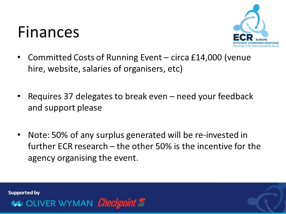 Supported by Committed Costs of Running Event – circa £14,000 (venue hire, website, salaries of organisers, etc) Requires 37 delegates to break even –