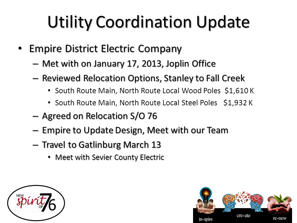 Utility Coordination Update Empire District Electric Company Empire District Electric Company – Met with on January 17, 2013, Joplin Office – Reviewed