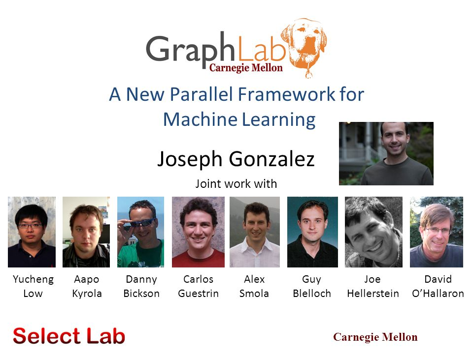 GraphLab Ensures Sequential Consistency 62 For each parallel execution, there exists a sequential execution of update functions which produces the same result.