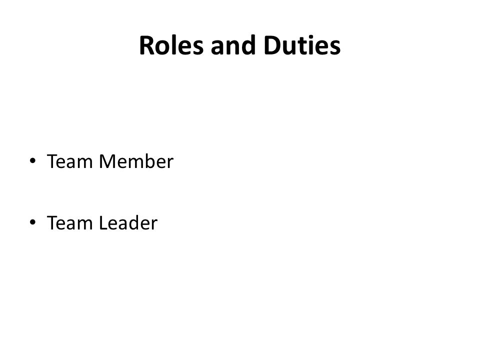 Roles and Duties Team Member Team Leader