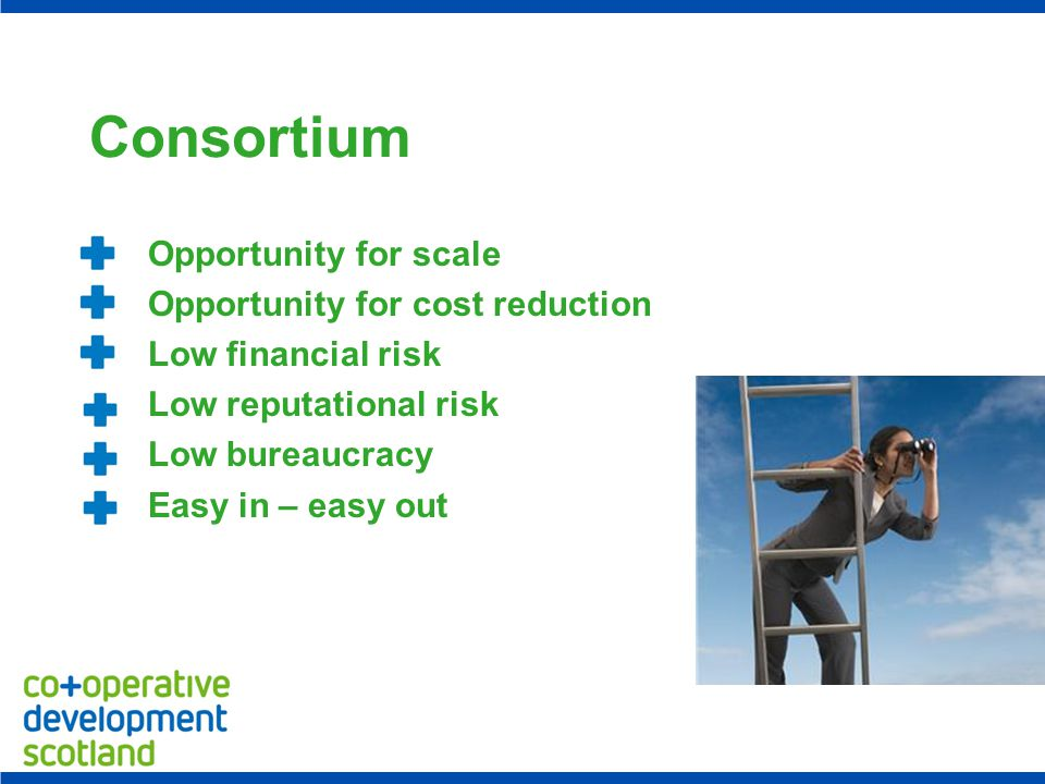 Consortium Opportunity for scale Opportunity for cost reduction Low financial risk Low reputational risk Low bureaucracy Easy in – easy out