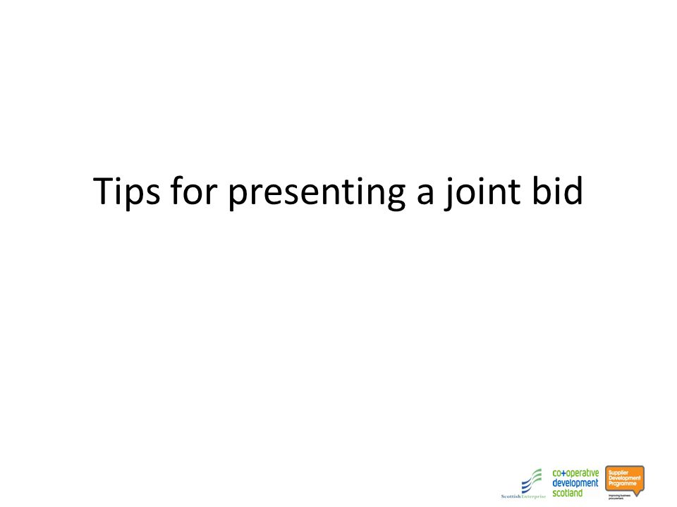 Tips for presenting a joint bid