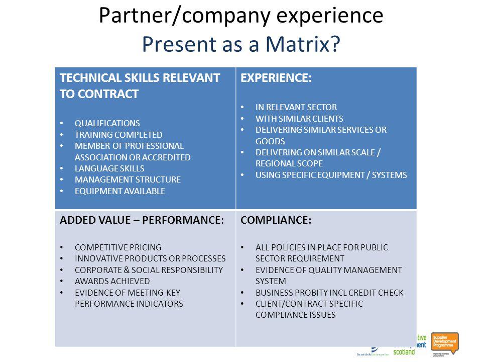 Partner/company experience Present as a Matrix.