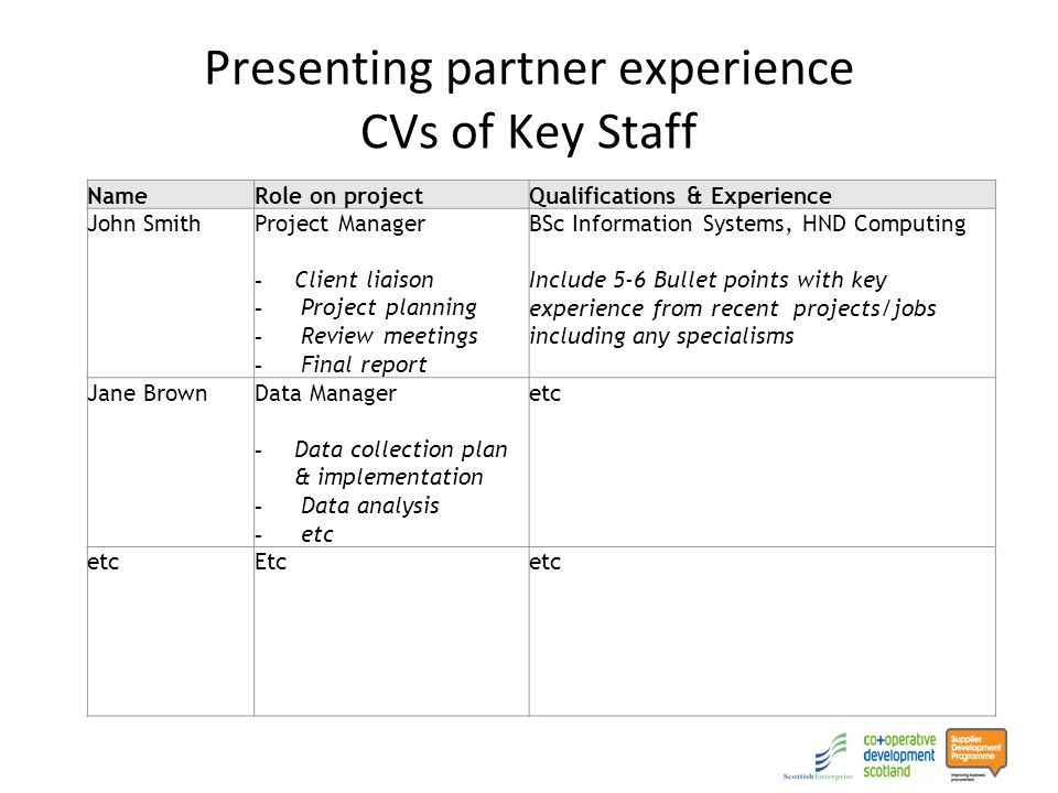 Presenting partner experience CVs of Key Staff NameRole on projectQualifications & Experience John SmithProject Manager - Client liaison - Project planning - Review meetings - Final report BSc Information Systems, HND Computing Include 5-6 Bullet points with key experience from recent projects/jobs including any specialisms Jane BrownData Manager - Data collection plan & implementation - Data analysis - etc etc Etcetc