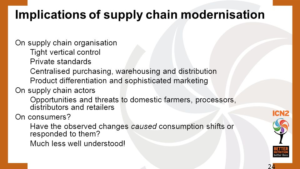 Implications of supply chain modernisation On supply chain organisation Tight vertical control Private standards Centralised purchasing, warehousing a