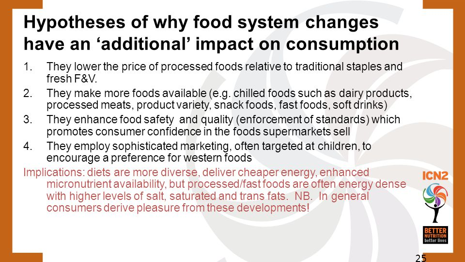 Hypotheses of why food system changes have an 'additional' impact on consumption 1. They lower the price of processed foods relative to traditional st
