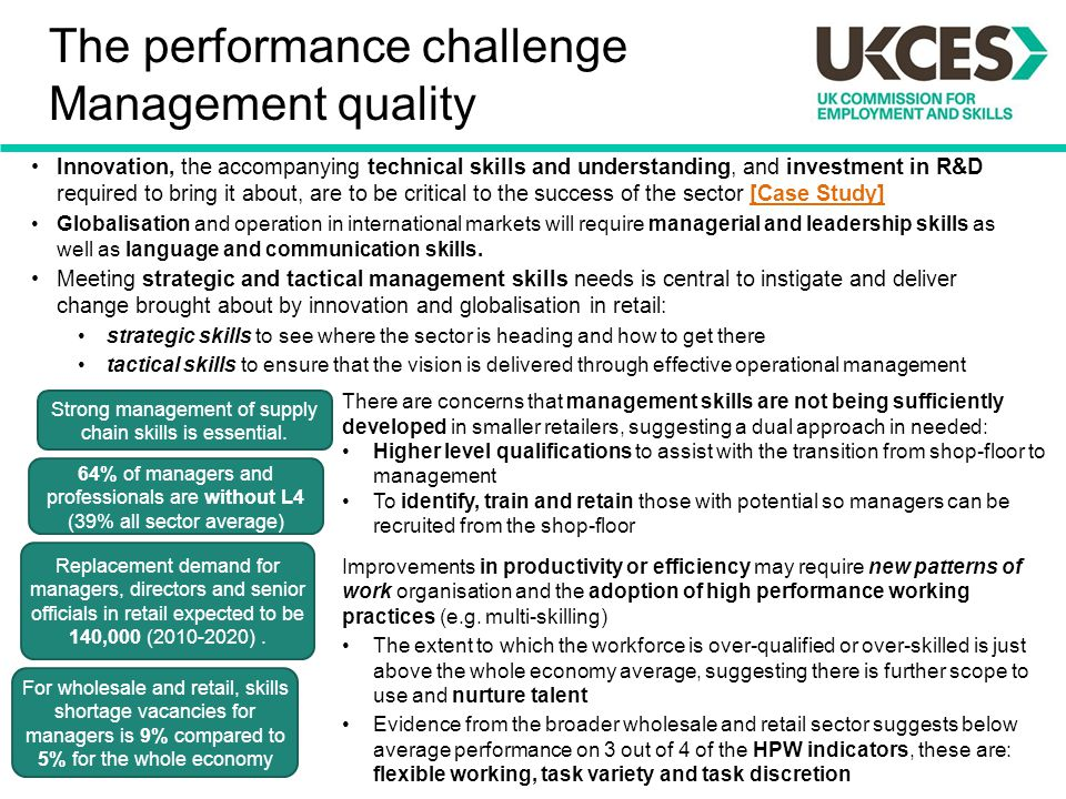 The performance challenge Management quality Innovation, the accompanying technical skills and understanding, and investment in R&D required to bring