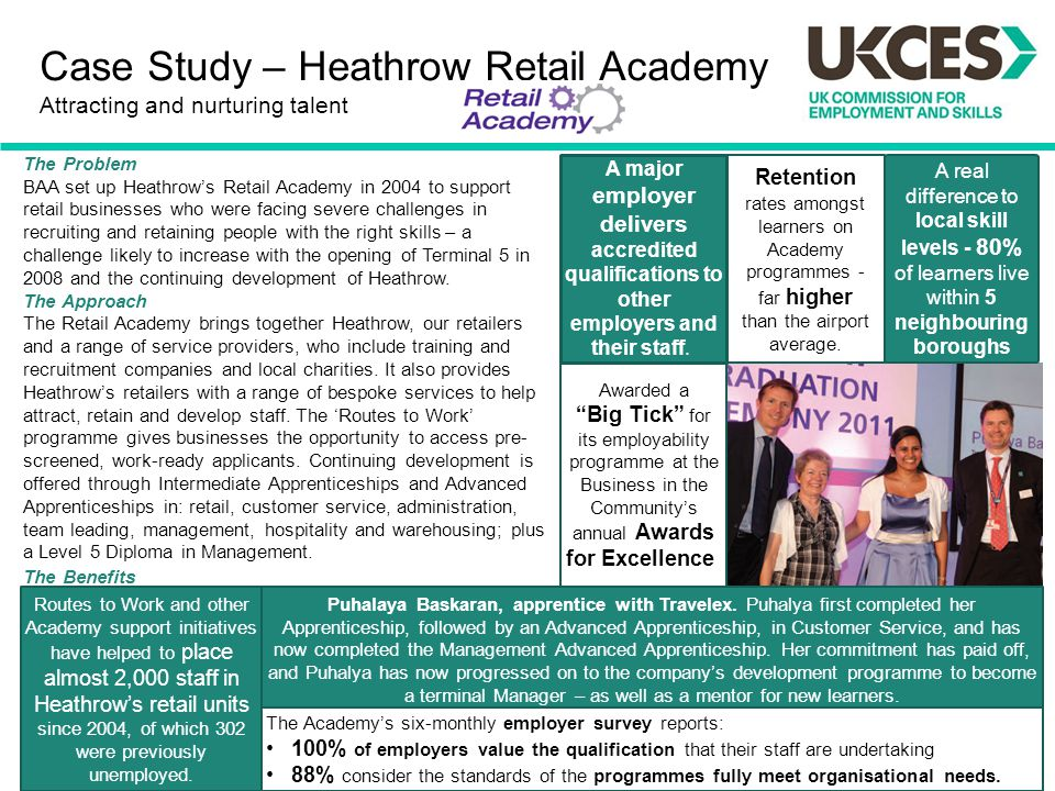 The Problem BAA set up Heathrow's Retail Academy in 2004 to support retail businesses who were facing severe challenges in recruiting and retaining pe