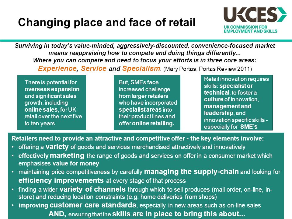 Changing place and face of retail But, SMEs face increased challenge from larger retailers who have incorporated specialist areas into their product l
