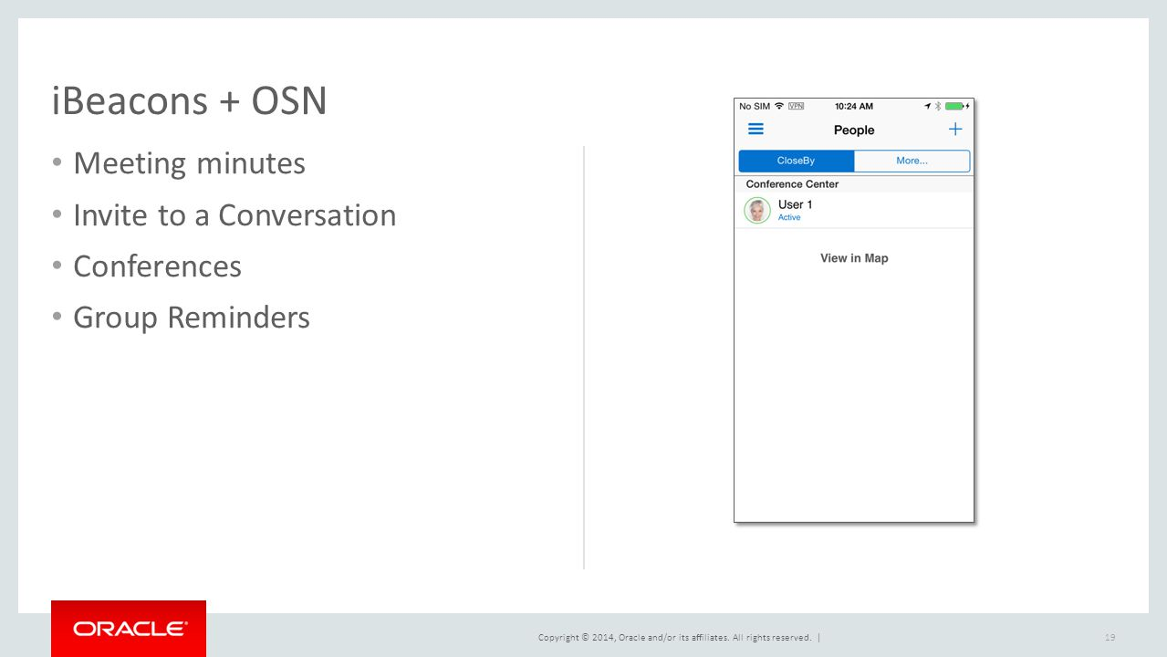 Copyright © 2014, Oracle and/or its affiliates. All rights reserved. | iBeacons + OSN Meeting minutes Invite to a Conversation Conferences Group Remin