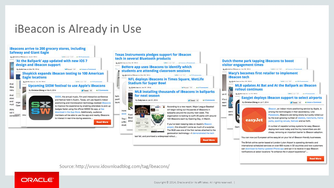 Copyright © 2014, Oracle and/or its affiliates. All rights reserved. | iBeacon is Already in Use Source: http://www.idownloadblog.com/tag/ibeacons/