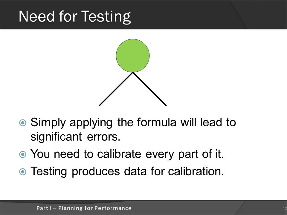 Need for Testing  Simply applying the formula will lead to significant errors.