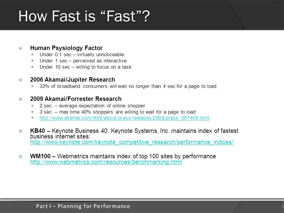 How Fast is Fast .  Human Psysiology Factor Under 0.1 sec – virtually unnoticeable.