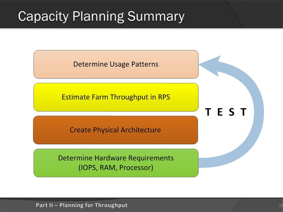 Capacity Planning Summary 58