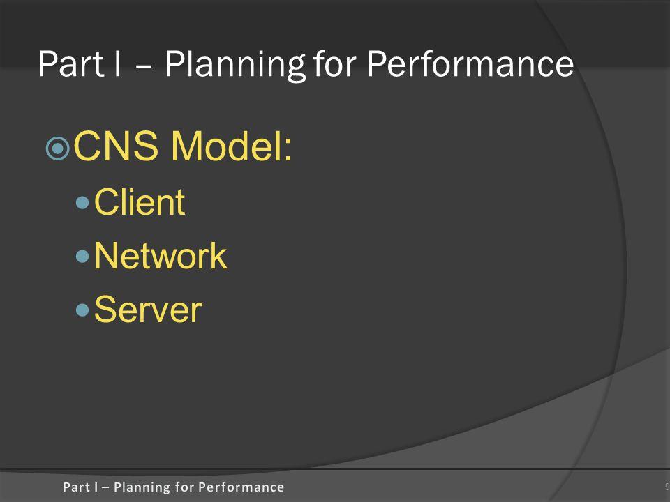 Part I – Planning for Performance  CNS Model: Client Network Server 9