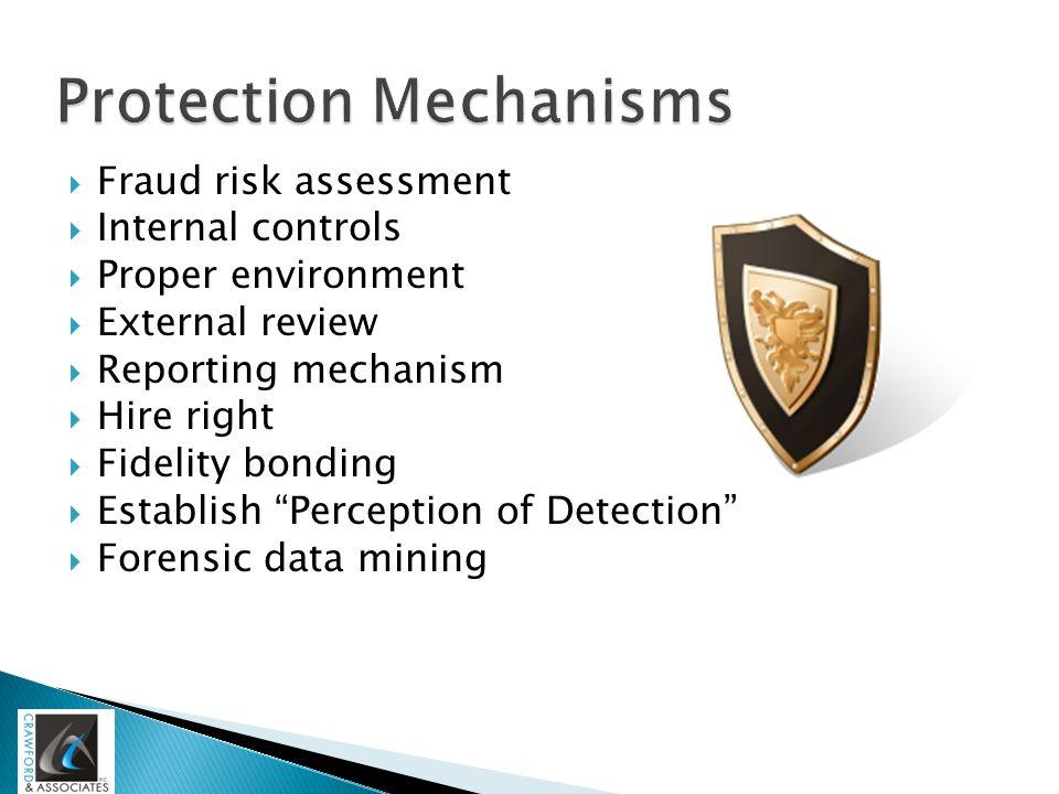 " Fraud risk assessment  Internal controls  Proper environment  External review  Reporting mechanism  Hire right  Fidelity bonding  Establish """