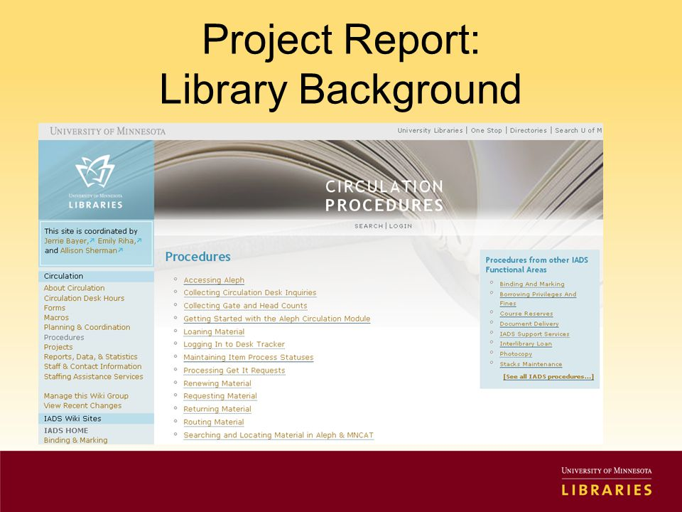 Project Report: Library Background