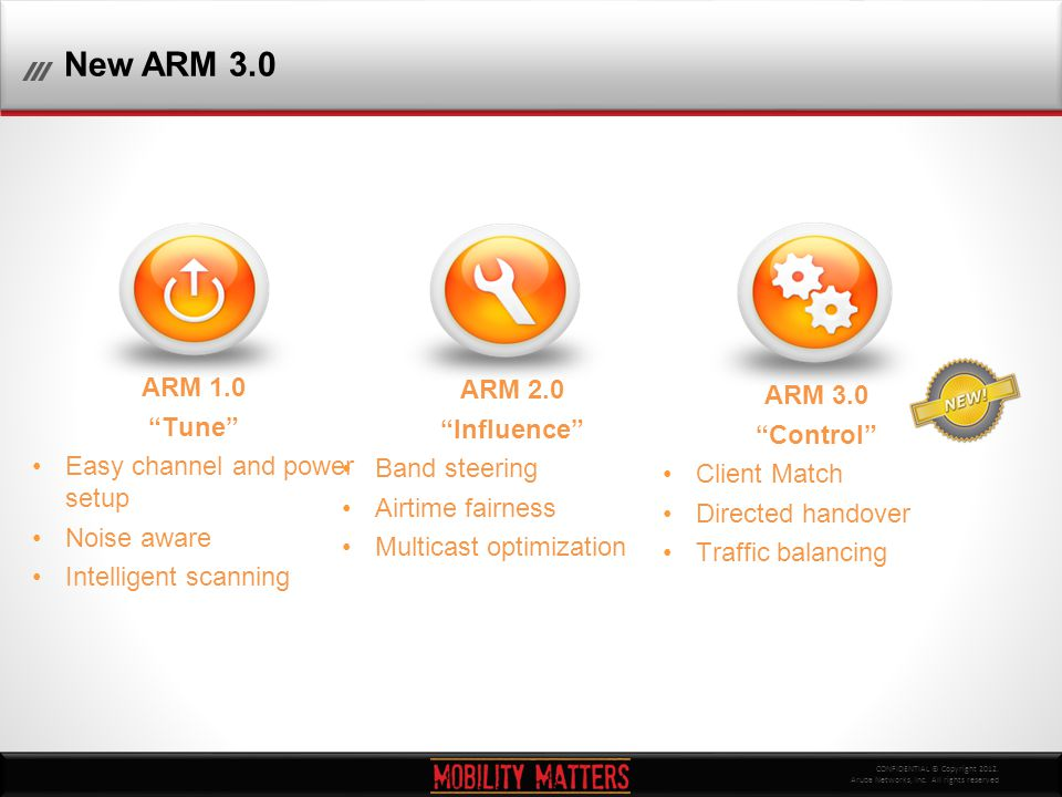 "CONFIDENTIAL © Copyright 2012. Aruba Networks, Inc. All rights reserved New ARM 3.0 ARM 1.0 ""Tune"" Easy channel and power setup Noise aware Intelligen"