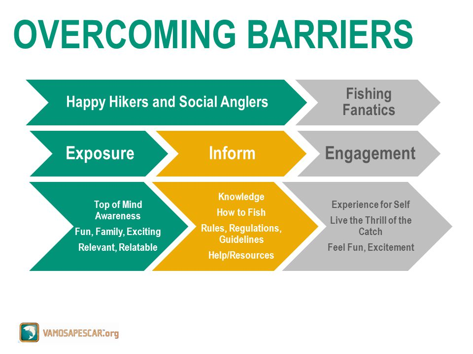 Happy Hikers and Social Anglers Fishing Fanatics ExposureInformEngagement Top of Mind Awareness Fun, Family, Exciting Relevant, Relatable Knowledge How to Fish Rules, Regulations, Guidelines Help/Resources Experience for Self Live the Thrill of the Catch Feel Fun, Excitement OVERCOMING BARRIERS