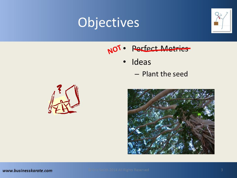 www.businesskarate.com Objectives Perfect Metrics Ideas – Plant the seed © Eric Smith 2014 All Rights Reserved3 NOT