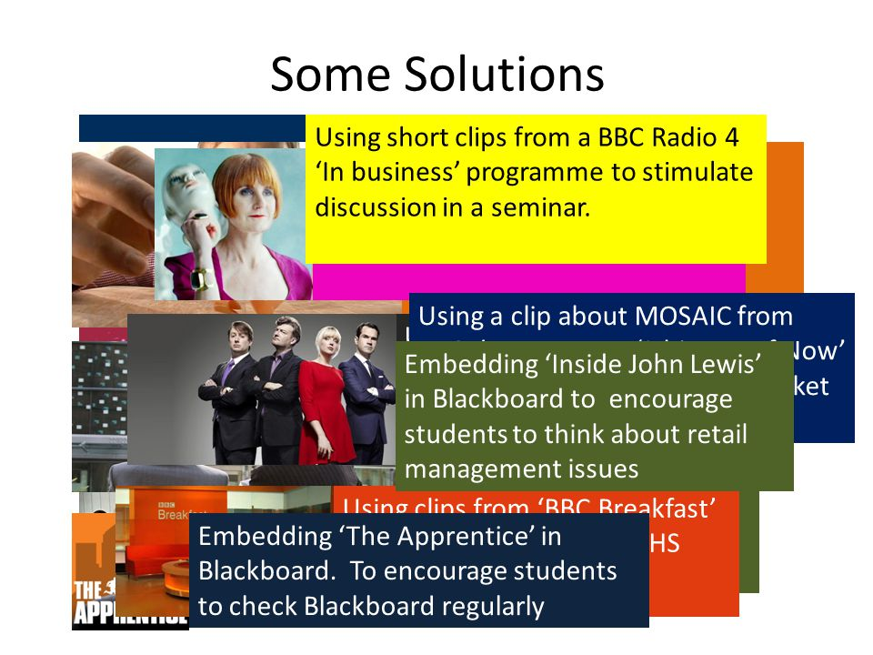 Using examples from 'Michel Roux's Service' to explore the importance of customer service Some Solutions Using an episode of 'Britain's really disgusting foods' as the basis for a seminar on the ethical issues surrounding marketing.