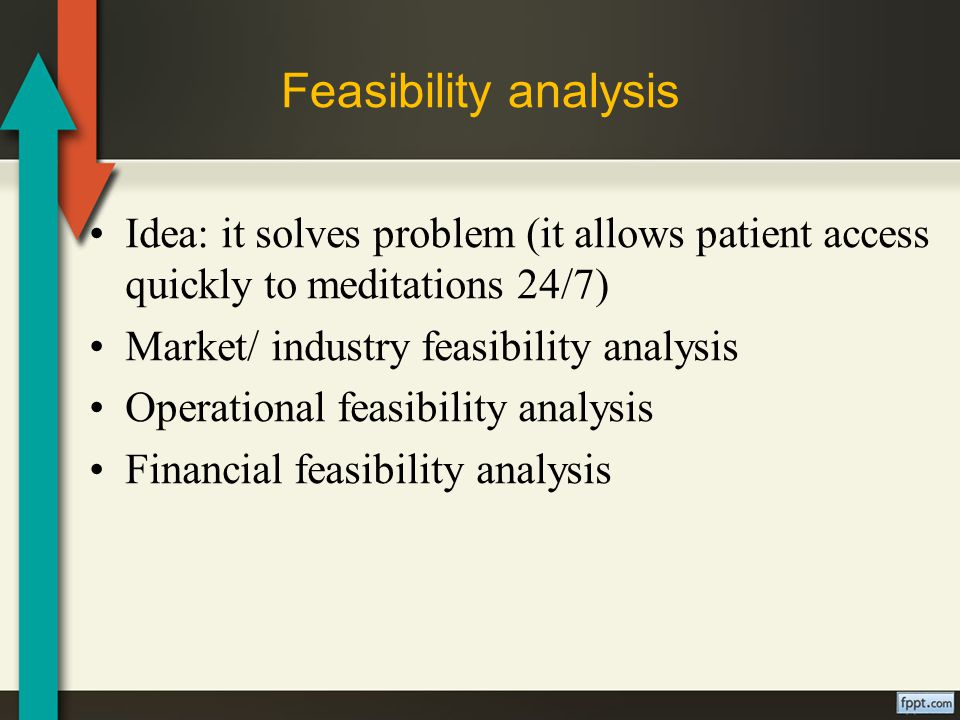 Feasibility analysis Idea: it solves problem (it allows patient access quickly to meditations 24/7) Market/ industry feasibility analysis Operational feasibility analysis Financial feasibility analysis