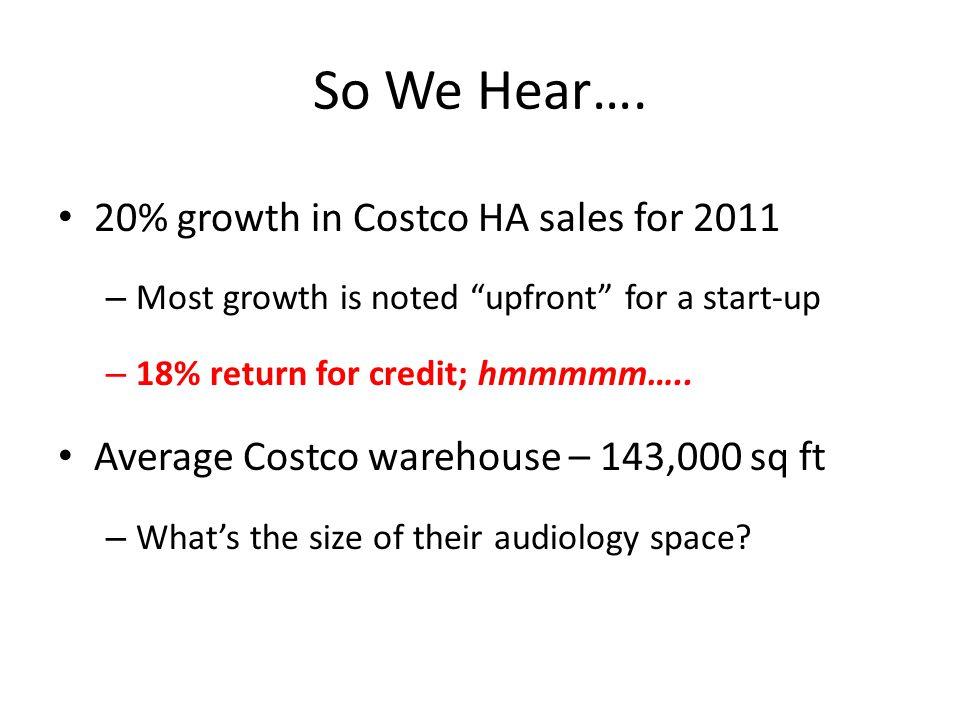 So We Hear….