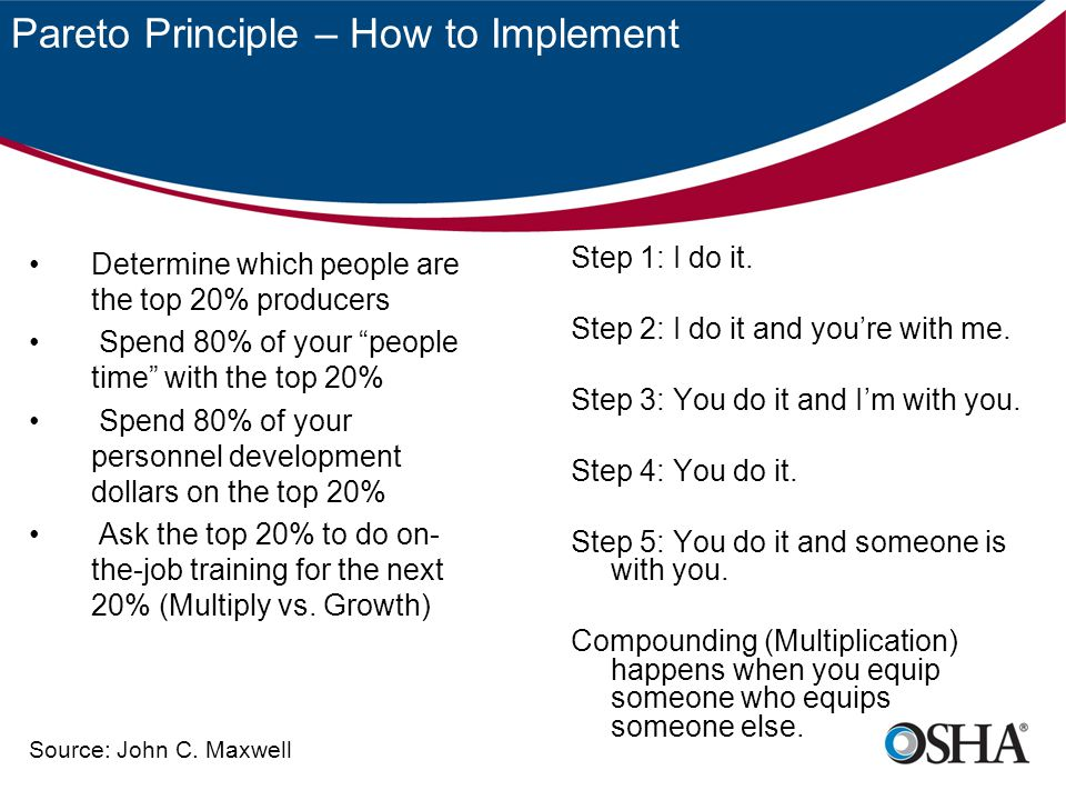 Pareto Principle – How to Implement Step 1: I do it. Step 2: I do it and you're with me. Step 3: You do it and I'm with you. Step 4: You do it. Step 5