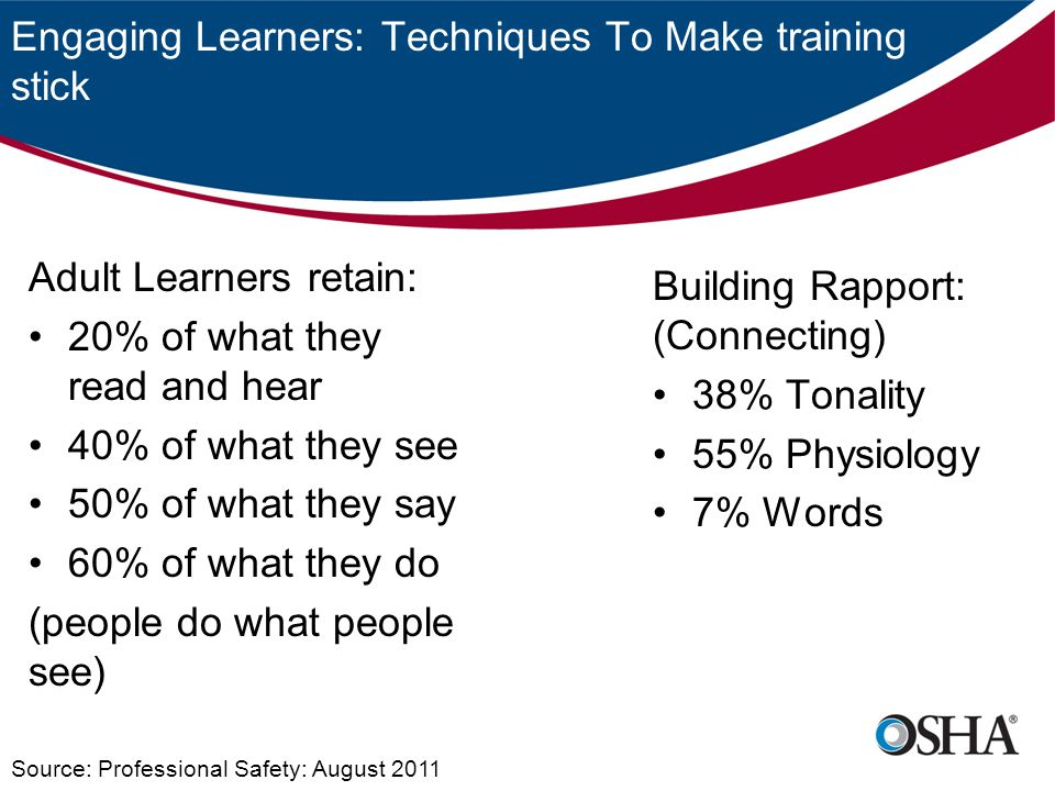 Engaging Learners: Techniques To Make training stick Adult Learners retain: 20% of what they read and hear 40% of what they see 50% of what they say 6