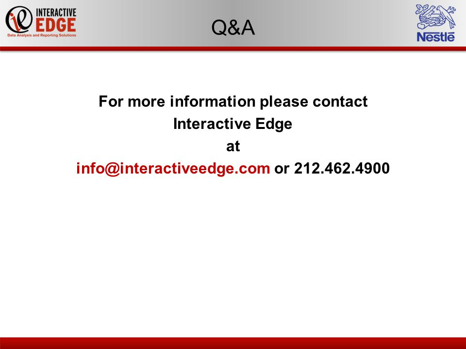 Q&A For more information please contact Interactive Edge at info@interactiveedge.com or 212.462.4900