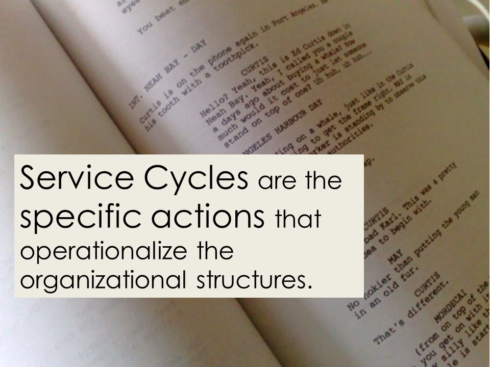 Service Cycles are the specific actions that operationalize the organizational structures.