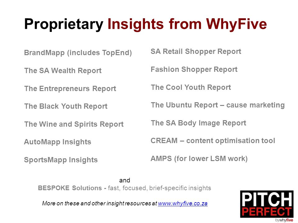Proprietary Insights from WhyFive BrandMapp (includes TopEnd) The SA Wealth Report The Entrepreneurs Report The Black Youth Report The Wine and Spirit