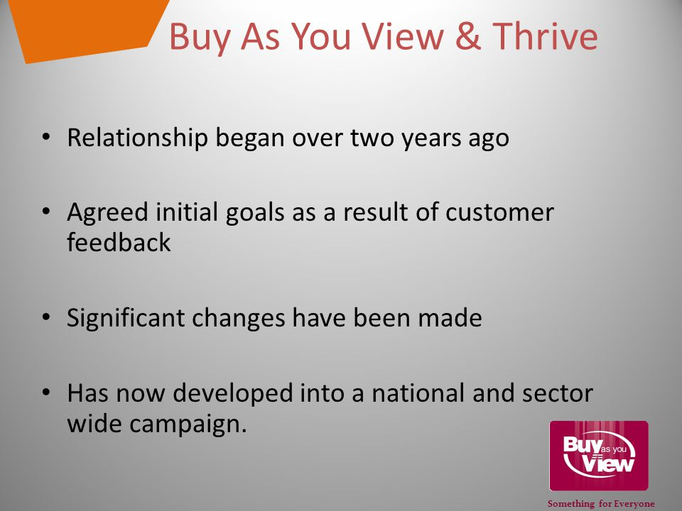 Something for Everyone Buy As You View & Thrive Relationship began over two years ago Agreed initial goals as a result of customer feedback Significant changes have been made Has now developed into a national and sector wide campaign.